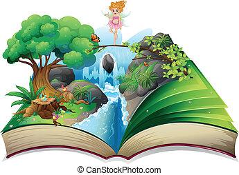 beeld, land, opengeslagen boek, elfje
