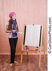 beeld, meisje, kunstenaar, schildersezel