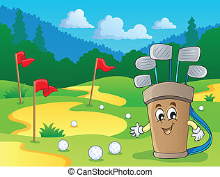 beeld, met, golf, thema, 2