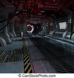 beeld, montage, binnen, of, scifi, achtergrond, spaceship,...
