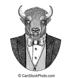 beeld, os, embleem, badge, hand, stier, logo, lappen, bizon...
