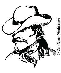 beeld, portrait., black , vector, grafisch, cowboy