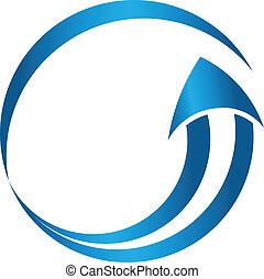 beeld, richtingwijzer, logo, cirkel