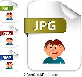 beeld, set, uitbreidingen, bestand, iconen