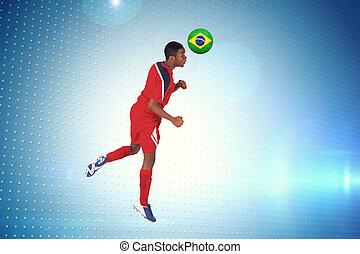 beeld, springt, voetbalspeler, composiet, rood