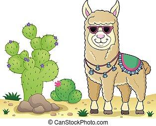 beeld, thema, zonnebrillen, 3, llama