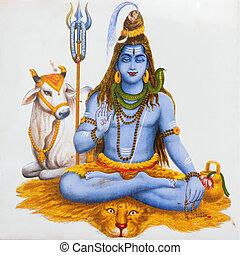 beeld, van, hindoe god, shiva
