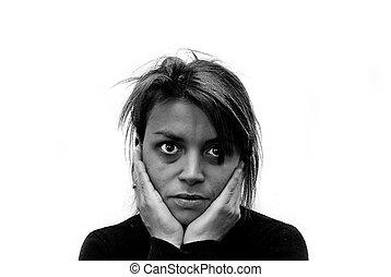 beeld, van, huiselijk geweld, victim.