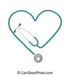 beeld, van, stethoscope, vrijstaand, op wit, achtergrond.