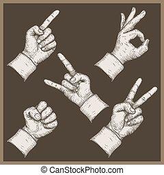 beeld, van, vijf, handen