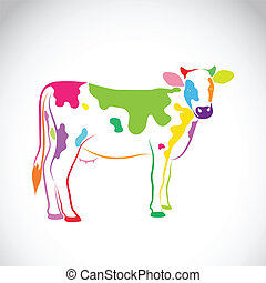 beeld, vector, achtergrond, koe, witte
