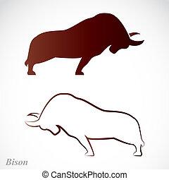 beeld, vector, bizon
