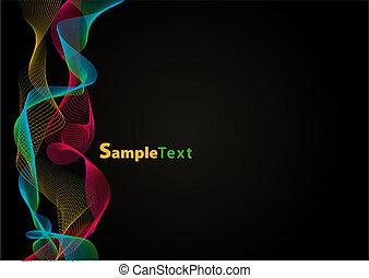 beeld, vector, -, gekleurde, golven