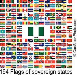 beeld, vector, vlaggen, verzameling, nigeria