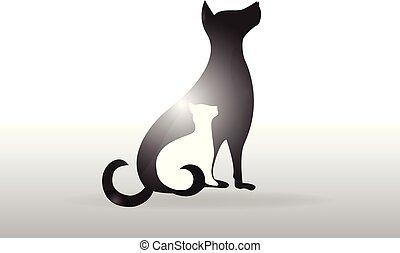 beeld, veeartsenijkundig, dog, kat, vector, logo
