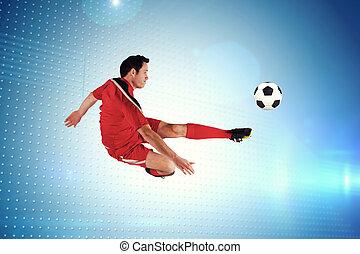 beeld, voetbalspeler, schoppen, composiet, rood