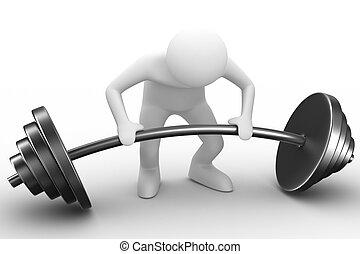 beeld, vrijstaand, barbell, gewicht-heftoestel, liften, white., 3d