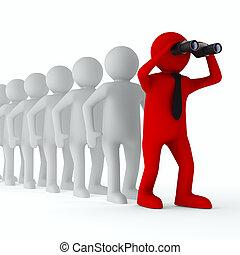 beeld, vrijstaand, leadership., conceptueel, witte , 3d