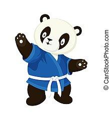 beeld, witte achtergrond, spotprent, kimono., vrijstaand, blauwe , karate, stijl, panda
