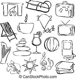 beelden, doodle, verslappen