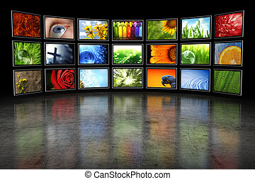 beelden, enigszins, tv's