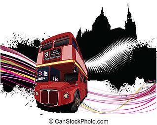beelden, londen, im, grunge, bus