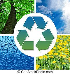 beelden, meldingsbord, conceptueel, recycling, natuur