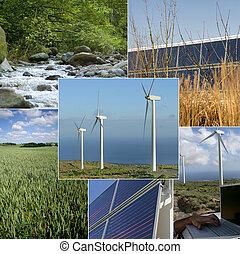 beelden, van, duurzaam, energie, en, de, milieu