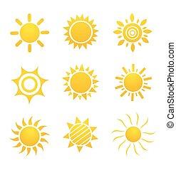beelden, zon stel, glanzend