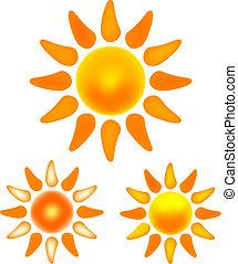 beelden, zon stel, het glanzen, aardig