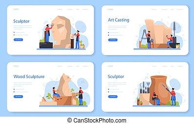 beeldhouwer, concept, gebeeldhouwd kunstwerk, makend, marmer...