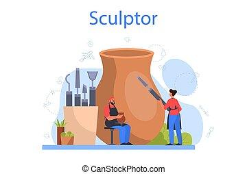 beeldhouwer, gebeeldhouwd kunstwerk, makend, concept., ...