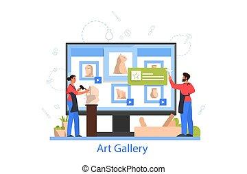 beeldhouwer, gebeeldhouwd kunstwerk, makend, gallery., ...