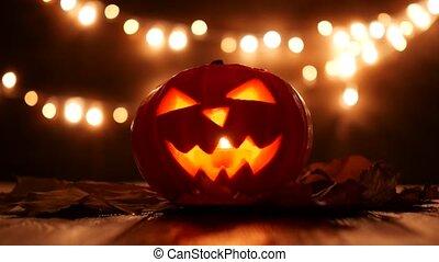 beeldmateriaal, gekerfde, donker, klee, halloween, ...