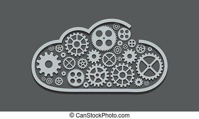 beeldmateriaal, moderne, mechanisme, gegevensverwerking, wolk, concept., technologie, toestellen, achtergrond., 4k, video