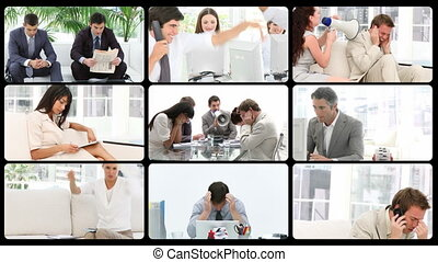 beeldmateriaal, montage, van, stress, in, de, wo
