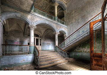The old hospital complex in Beelitz near Berlin which is abandoned since 1994