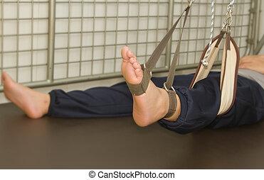 been, oefening, met, ophanging, set, voor, rehab, muscle, kracht