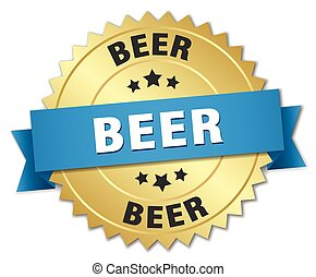 beer 3d gold badge with blue ribbon
