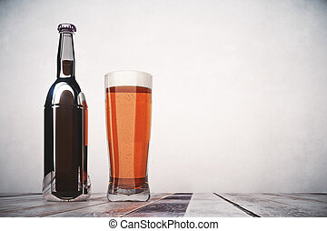Beer ad concept - Blank beer bottle and glass placed on...