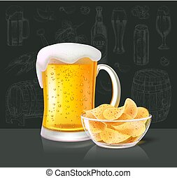 Beer Alcoholic Drink in Glass with Crisps Vector - Beer...