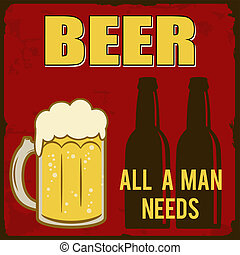 Beer, all a man needs retro poster