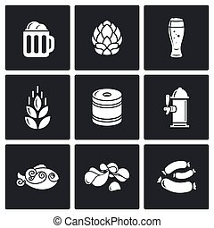 Beer and appetizer icons. Vector Illustration. - Vector...