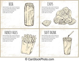 Beer and Chips Skecthes Set Vector Illustration - Beer and...