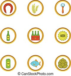 Beer and food icons set, cartoon style