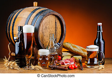 Beer and food - still life with different beer and food