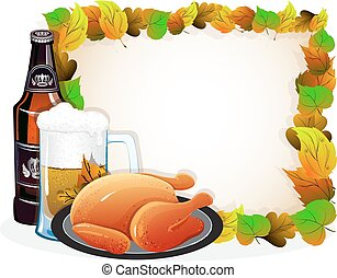 Beer and fried chicken with autumn leaves - Beer mug, bottle...