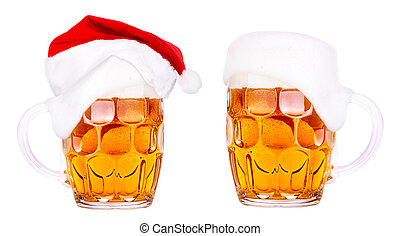 Beer and hat of Santa Claus