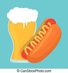 Beer and hot dog. Vector flat cartoon