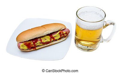 Beer and hot dogs on a white background